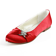 Satin Flat Heel Closed Toe With Crystal / Ruffles Wedding Party Women's Shoes