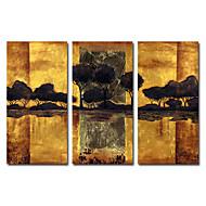Pintados a mano, pintura al óleo del paisaje de gran tamaño amplio conjunto de 3