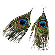 Drop Earrings Feather Fabric Alloy Bohemian Fashion Feather Peacock Dark Green Jewelry Party