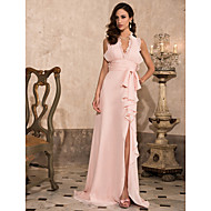 TS Couture® Formal Evening / Prom / Military Ball Dress - Pearl Pink Plus Sizes / Petite Sheath/Column Halter / V-neck Sweep/Brush Train Chiffon