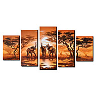 Peints à la main peinture animaux huile surdimensionné large éventail de 5