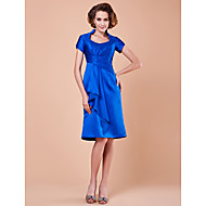 Lanting A-line Plus Sizes / Petite Mother of the Bride Dress - Royal Blue Knee-length Short Sleeve Satin