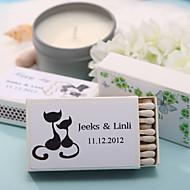 decoração do casamento caixas de fósforos personalizadas - adorável gatos (conjunto de 12)