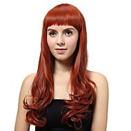 korkiton pitkä punaruskea kihara synteettiset peruukit