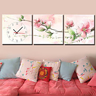 Contemporary Floral  Canvas Wall Clock in 3pcs