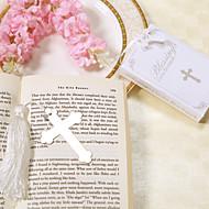 roestvrij stalen kruis Bladwijzer bruiloft gunst met wit kwastje