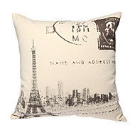 Cotton/Linen Pillow Cover , Eiffel Tower Retro
