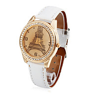 Women's Leather Quartz Movement Glass Round Shape Dress Watch(More Colors)