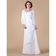 Lanting Sheath/Column Plus Sizes / Petite Mother of the Bride Dress - Ivory Floor-length Long Sleeve Chiffon