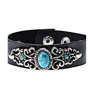 Metall Lace Turquoise Leather Bracelet