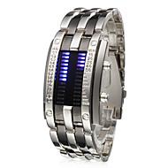 남성 손목 시계 독특한 창조적 인 시계 디지털 LED 달력 스테인레스 스틸 밴드 실버
