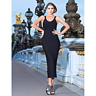 Cocktail Party / Formal Evening Dress Sheath / Column Scoop Tea-length Rayon with Bandage
