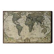 Tryckt Konst Vintage Linen World Map 1212-0149