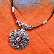 Leather Tibetan Silver Choker(Length:40CM)