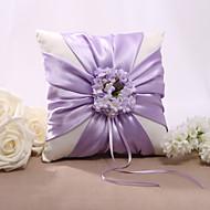 Lilas Satin Floral Design Wedding Ring Pillow