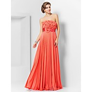Sheath/Column Strapless Floor-length Chiffon Evening/Prom Dress