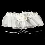 Garter Satin / Tulle Flower White