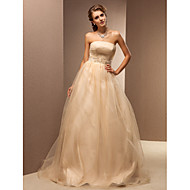 Lanting A-line Plus Sizes Wedding Dress - Champagne Sweep/Brush Train Strapless Tulle