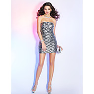 Cocktail Party/Holiday Dress - Silver Sheath/Column Strapless Short/Mini Sequined