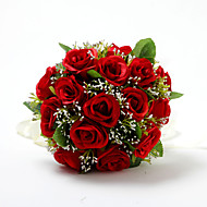 "Wedding Flowers Round Roses Bouquets Wedding Satin / Cotton Red 9.84""(Approx.25cm)"