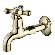 Ti-PVD Finish Wall-Mount Antique Style Brass Bathroom Sink Faucets (Washing Machine Faucets)