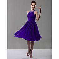 Knee-length Chiffon Bridesmaid Dress - Plus Size / Petite A-line / Princess Jewel