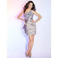 TS Couture® Cocktail Party / Holiday Dress - Silver Plus Sizes / Petite Sheath/Column One Shoulder Short/Mini Satin