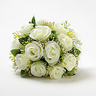 "Wedding Flowers Round Roses Bouquets Wedding Satin / Cotton Ivory 9.84""(Approx.25cm)"