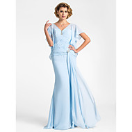 Trumpet/Mermaid Plus Sizes / Petite Mother of the Bride Dress - Sky Blue Floor-length Short Sleeve Chiffon