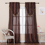 Designer Two Panels Stripe Brown Dining Room Polyester Sheer Curtains Shades