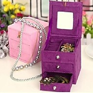 Two Layers Square-shaped Wood And Flannelette Women's Jewelry Box