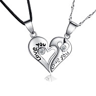 Couples' Silver Necklace Anniversary/Birthday/Gift/Daily/Causal Cubic Zirconia