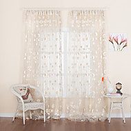 TWOPAGES® Two Panels  Floral Jacquard Country Sheer Curtain