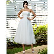 Lanting Bride A-line / Princess Petite / Plus Sizes Wedding Dress-Tea-length Strapless Tulle