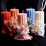 fargerik stearinlys med blomster korall bryllup