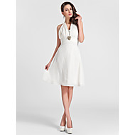 Homecoming Knee-length Chiffon Bridesmaid Dress - Ivory Plus Sizes A-line/Princess Halter