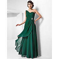 TS Couture Formal Evening Military Ball Dress - Open Back Sheath / Column One Shoulder Floor-length Chiffon withCrystal Detailing Draping