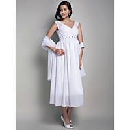 TS Couture Formal Evening / Wedding Party / Cocktail Party Dress - White Maternity Sheath/Column V-neck Tea-length Chiffon