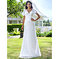 Lanting Bride Sheath/Column Petite / Plus Sizes Wedding Dress-Sweep/Brush Train V-neck Lace