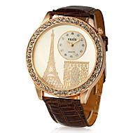מנגנון קוורץ עגול PU עם שעונים לנשים קריסטל (צבעים נוספים)