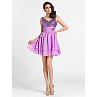 Cocktail Party / Prom / Sweet 16 Dress - Lilac Plus Sizes / Petite A-line / Princess V-neck / Straps Short/Mini Chiffon / Sequined