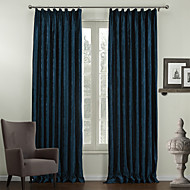 Two Panels  Traditional Embossed Floral Lined Curtain