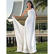 Sheath/Column Plus Sizes Wedding Dress - Ivory Floor-length One Shoulder Chiffon