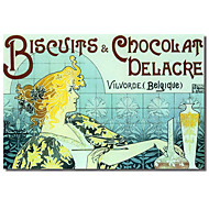 Printed Canvas Art Vintage Chocolate Biscuits by Vintage Apple Collection with Stretched Frame