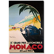 Painettu Canvas Art Vintage Grandprix Automobile Monaco 1933 Vintage Apple Collection venytetty Frame