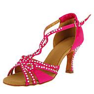 Femininos personalizados cetim sapatos de dança com strass (mais cores)