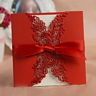 Pretty Floral Cut-out Wedding Invitation With Bowknot -Set Of 50/20