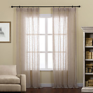 Two Panels Linen Poly Solid Sheer Curtains Drapes