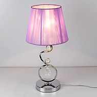Contemporary Table Light with Elegant Pink Pleated Fabric Shade Crystal Decor 220-240V