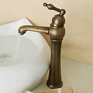 Art Deco/Retro Vessel Ceramic Valve Single Handle One Hole with Antique Brass Bathroom Sink Faucet